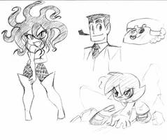 PowerPuff Girls sketches 1 by rongs1234
