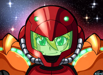 Samus bust armored by rongs1234