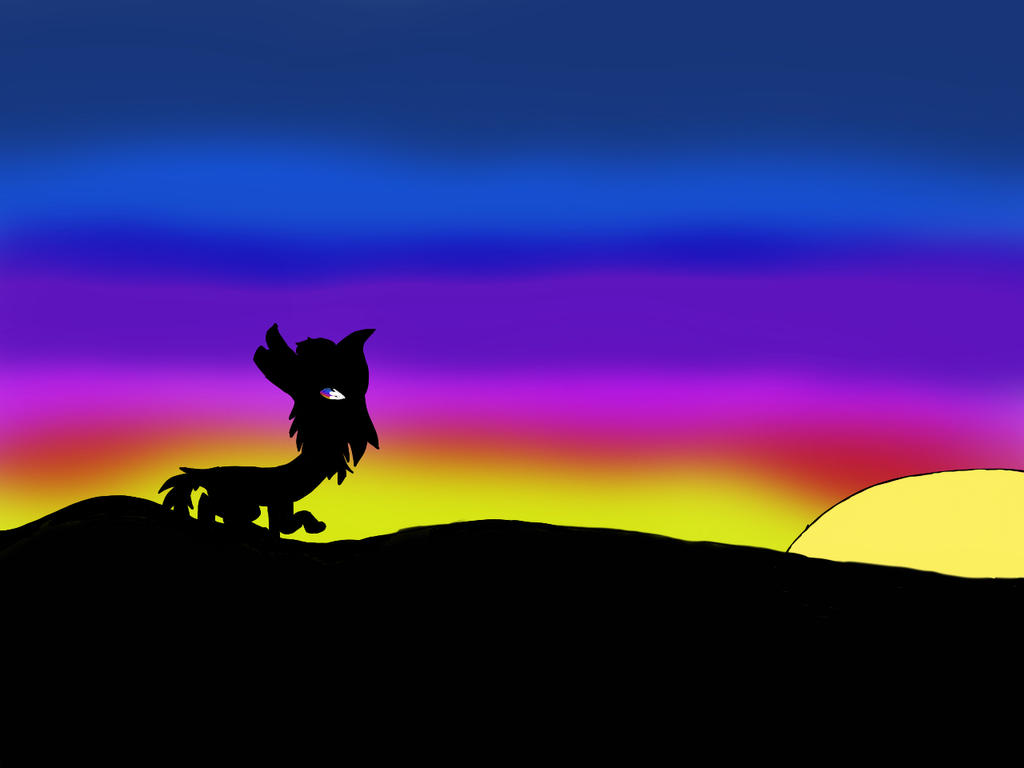 Sunset with a wolf  by Wolfa273