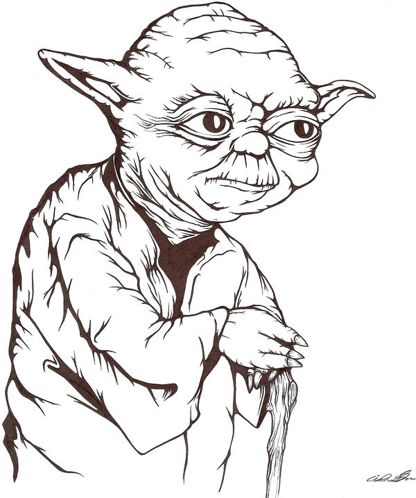 Line Drawing Yoda : My drawing of quot yoda from star wars made with ink — steemit