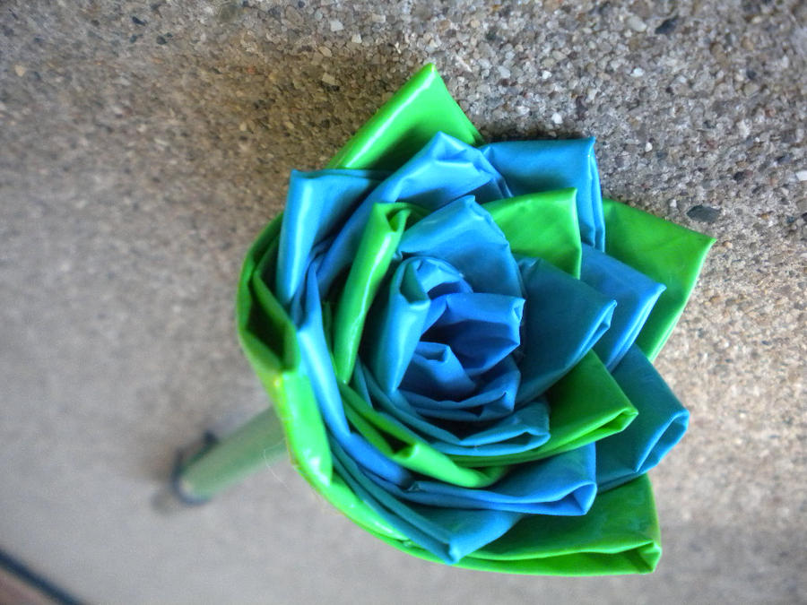 Blue and Green Duct Tape Rose by SharpieObsessed