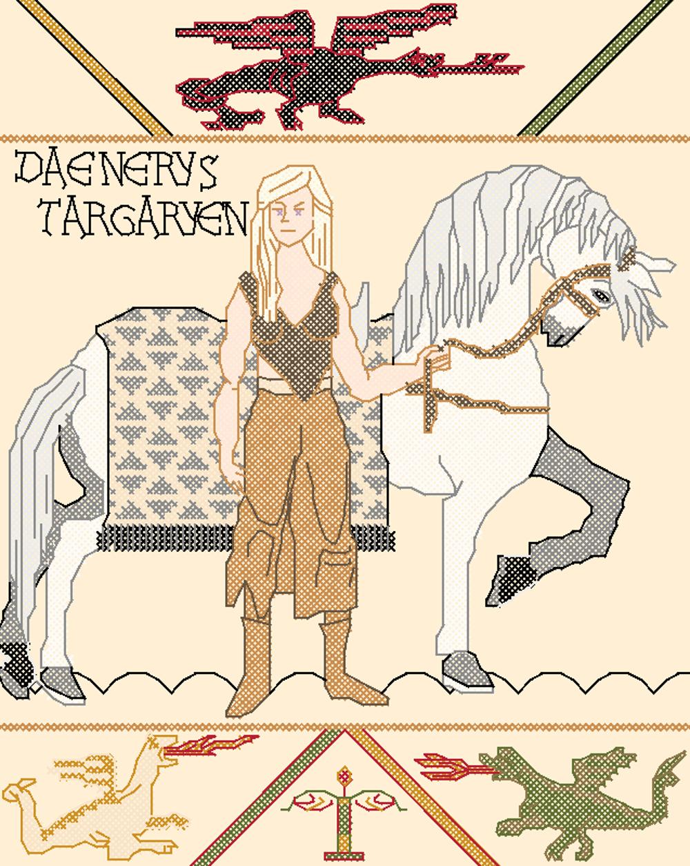 Daenerys Targareyn/Bayeux tapestry Cross Stitch by rhaben