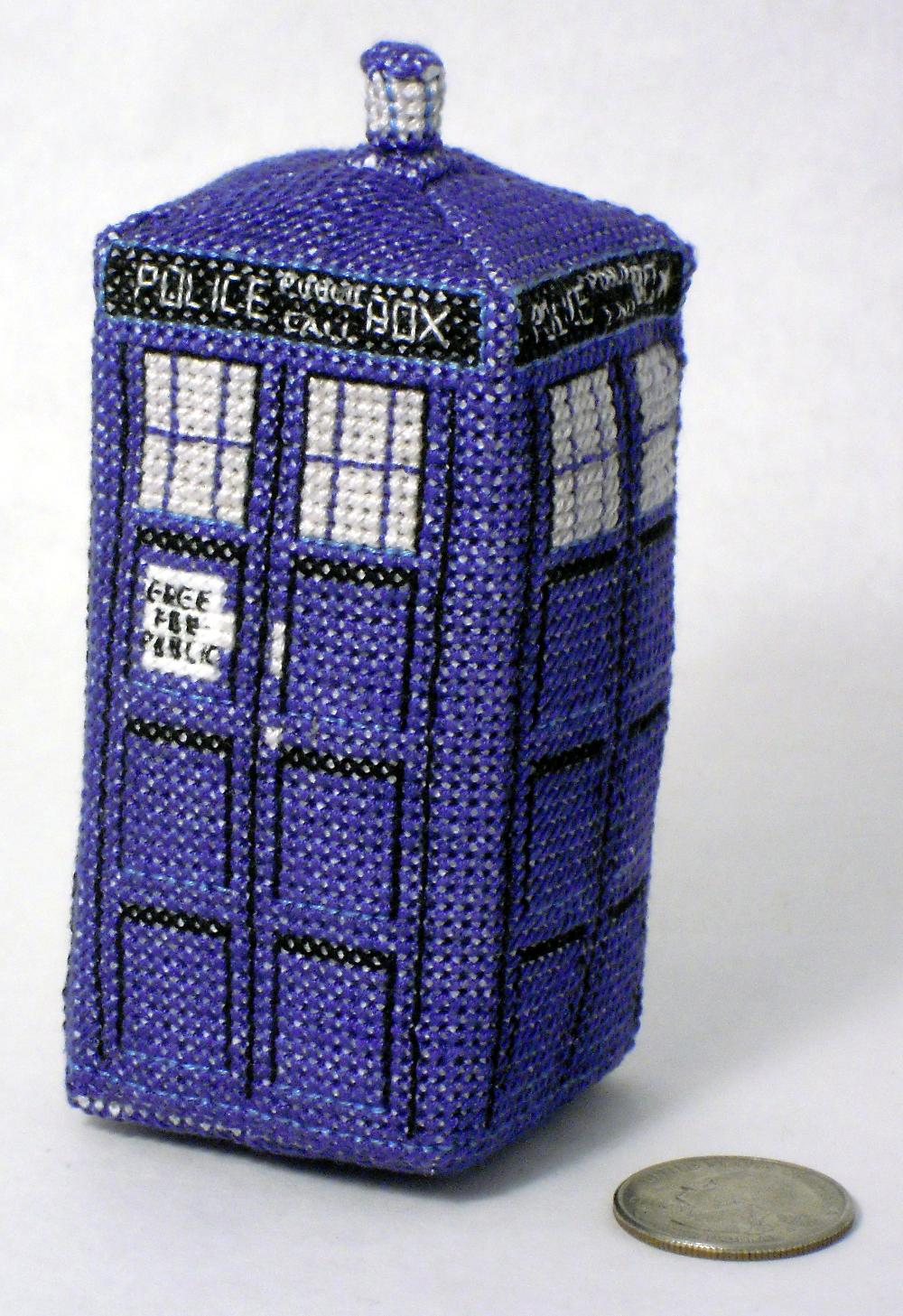 Mini TARDIS 3D Cross Stitch by rhaben