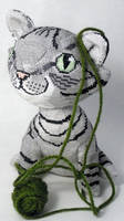 Gray Tabby Cat in 3D Cross Stitch by rhaben