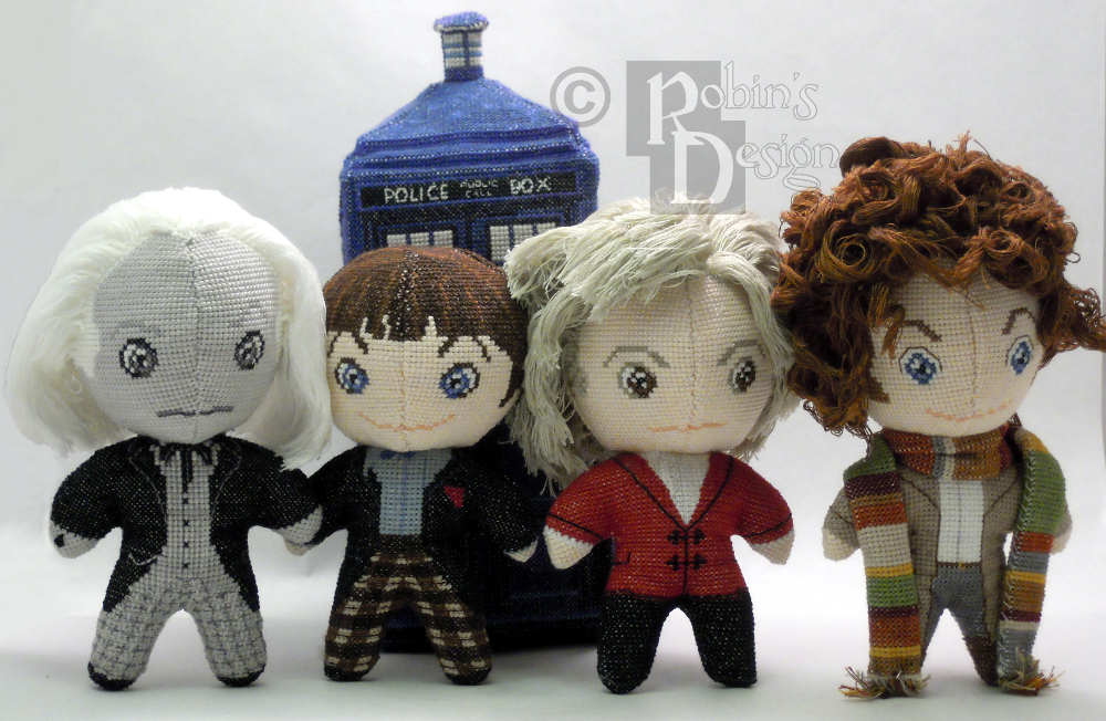 The First Four Doctors 3D Cross Stitch Dolls by rhaben