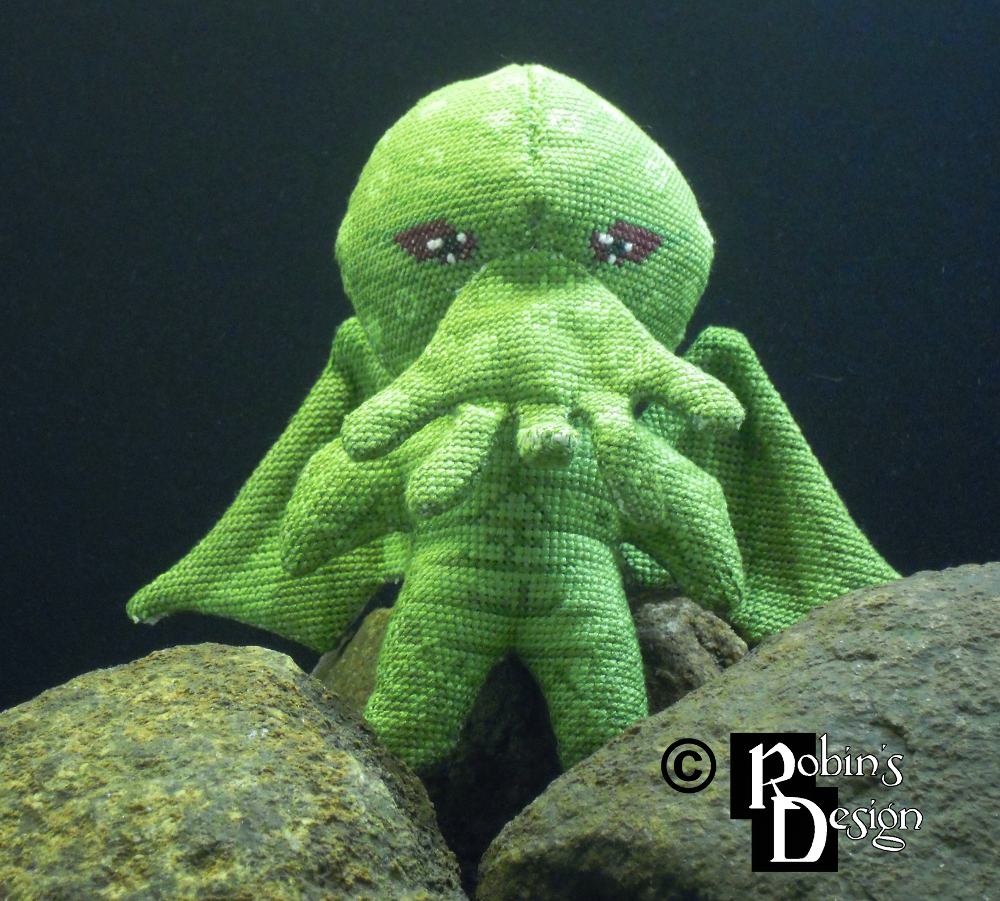 Cthulhu 3D Cross Stitch Doll by rhaben