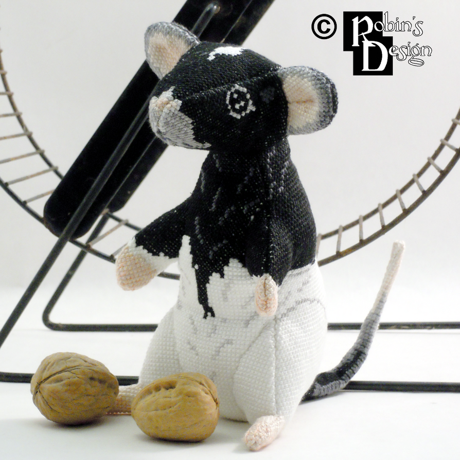 Wink the Hooded Rat 3D Cross Stitch Doll by rhaben