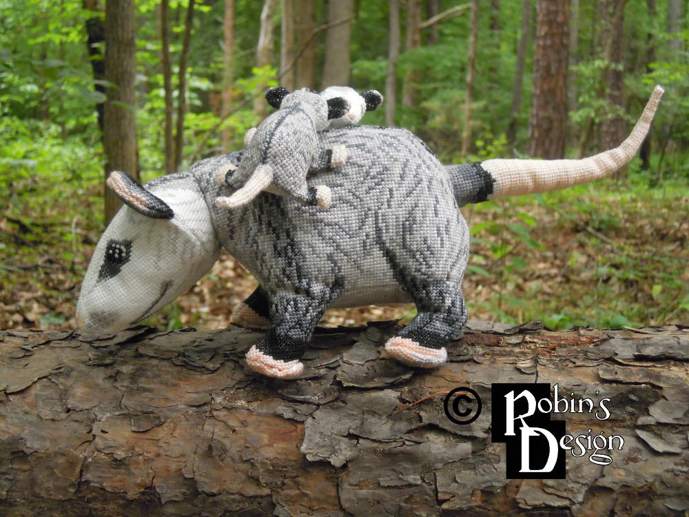 Virginia Opossum Family in 3D Cross Stitch by rhaben