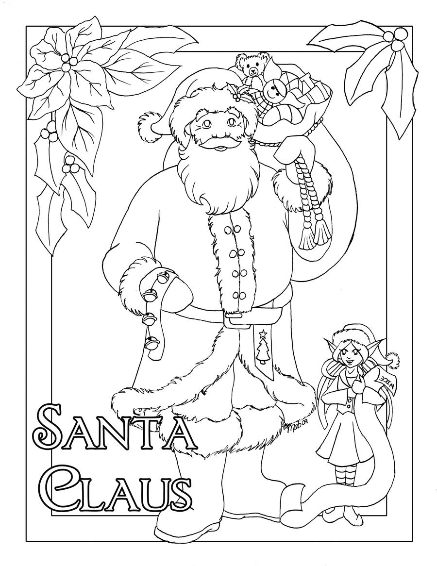 santa claus coloring page by wulfemoon on deviantart