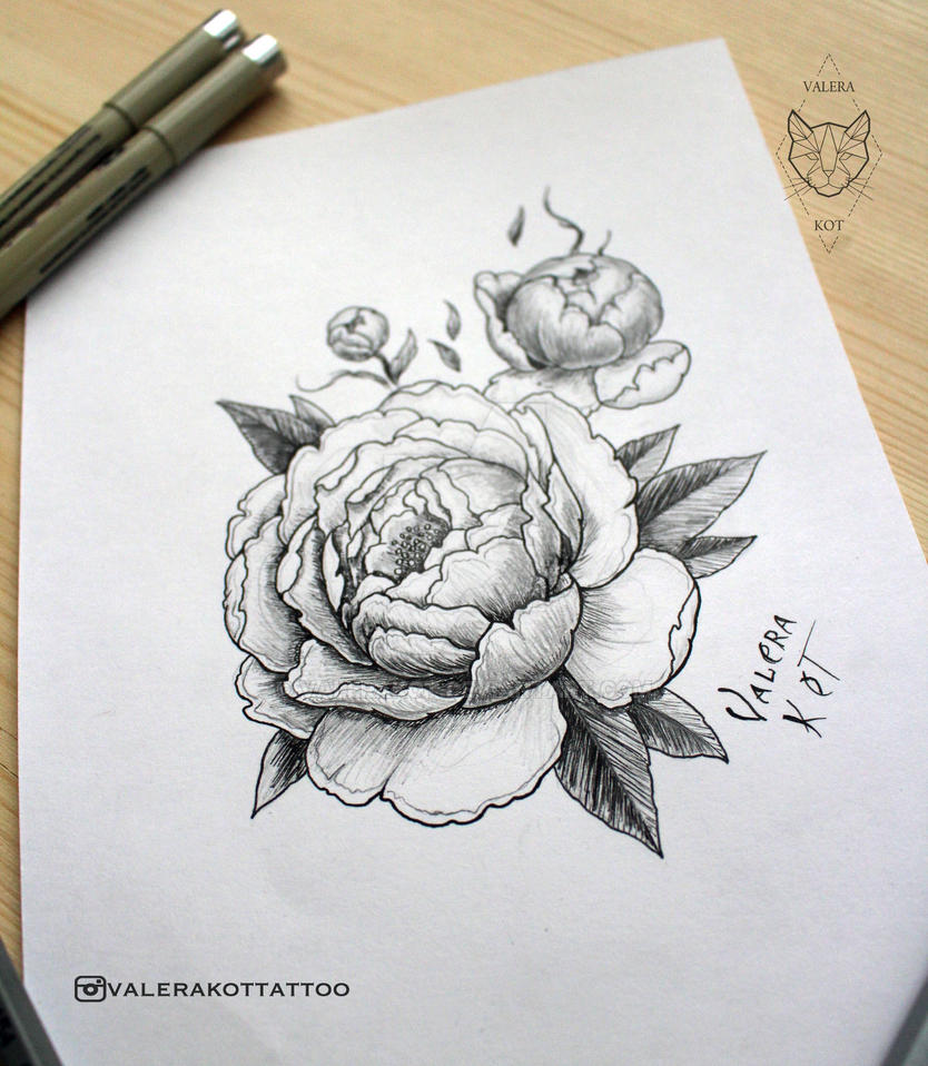 New Tattoo Sketch Peony By Valerakot On Deviantart