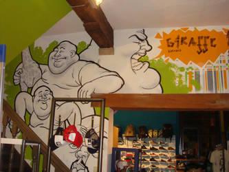 Wall in the 'Giraffe' shop by SquidDelay