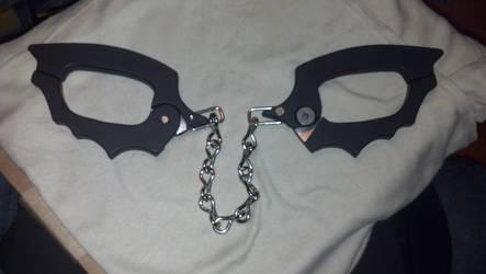 Batman Bat Cuffs after paint by whoisthelain
