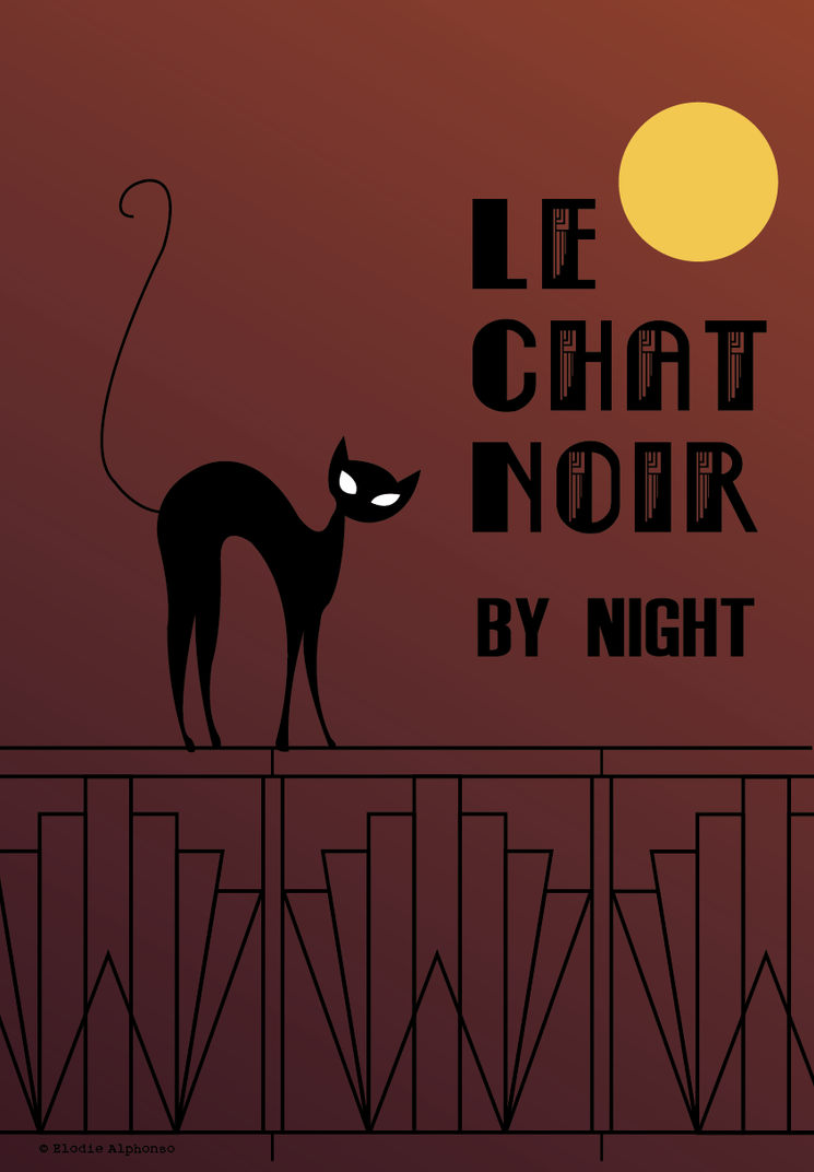affiche art deco le chat noir by night by sheynaasheane on deviantart. Black Bedroom Furniture Sets. Home Design Ideas
