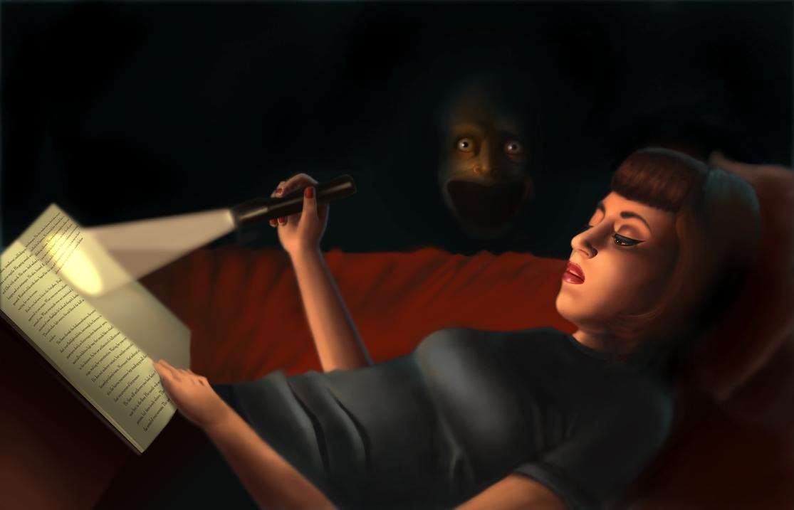 Flashlight Reading by buriedinadream