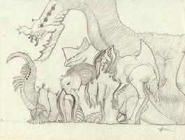 Kaiju madness by Dragonthunders