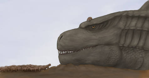 Godzilla chilling with the dicynodonts