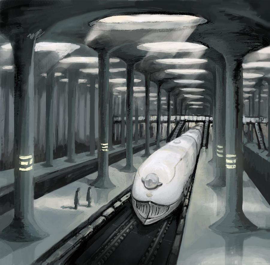 Futuristic Train Interior Train Station by draw1...
