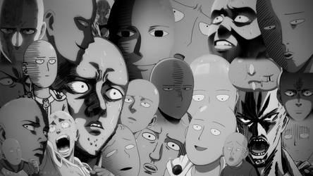 One Punch Man - Saitama Faces Wallpaper BW