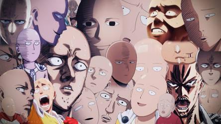 One Punch Man - Saitama Faces Wallpaper Colour
