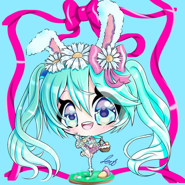 Easter bunny Miku by lexiart32