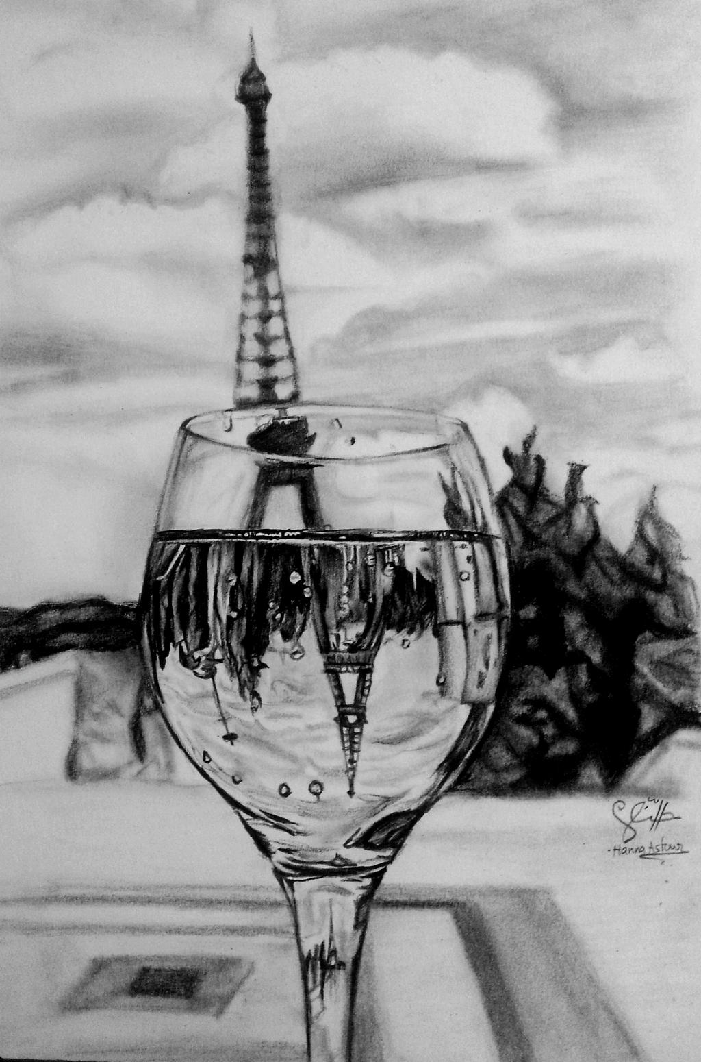 eiffel tower reflection drawing by hannaasfour eiffel tower reflection drawing by hannaasfour