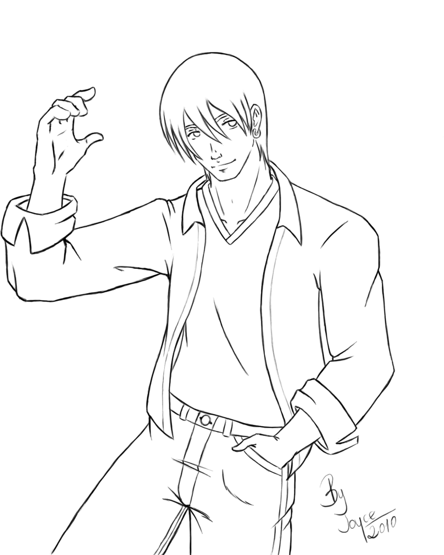 Line Drawing Characters : Anime male body outline sketch coloring page