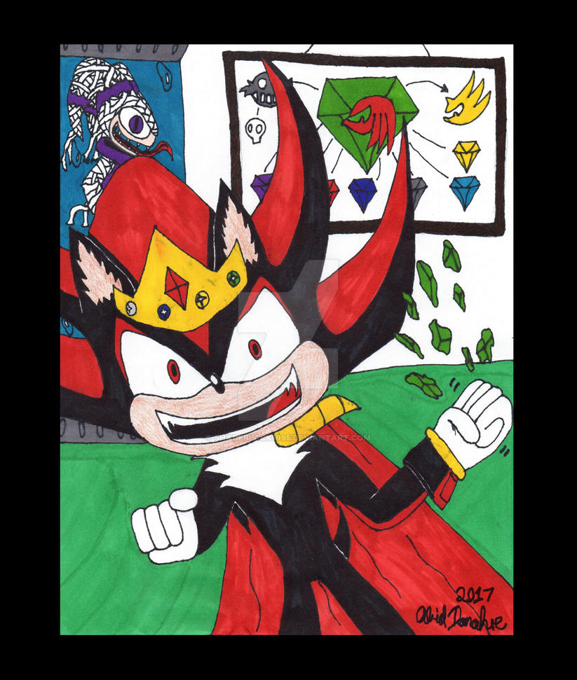 King Shadow crushes a Chaos Emerald by ShadeBlack1995