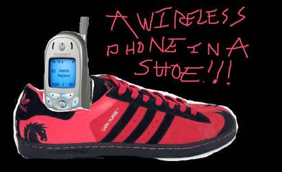 A wireless phone in a shoe