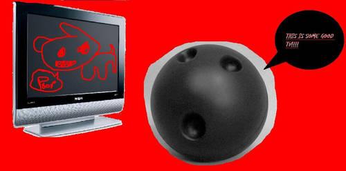 A bowling ball watching TV