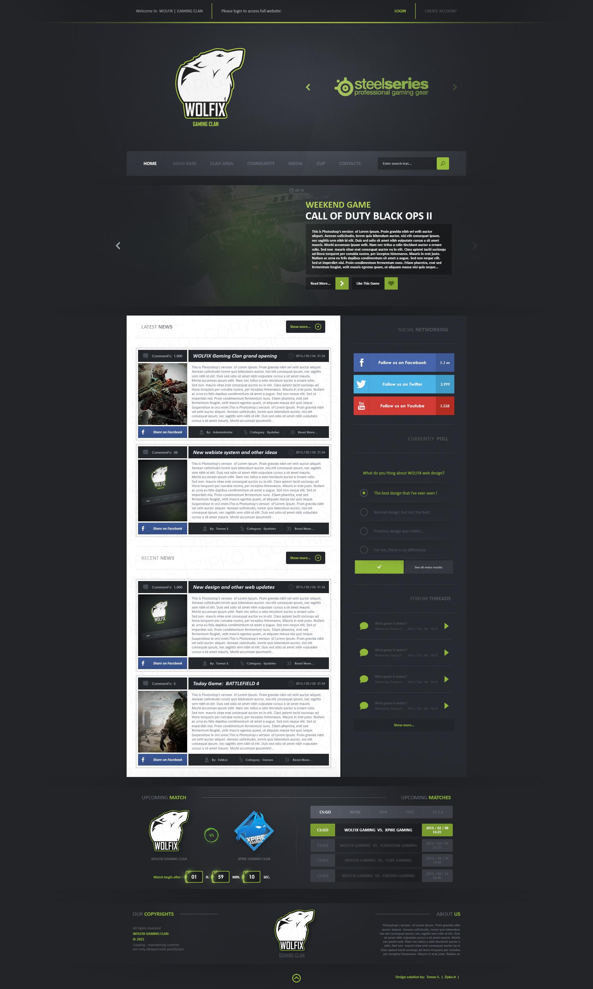WOLFIX GAMING CLAN - Web design SOLD by TomZGFX on DeviantArt