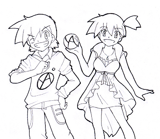 ash misty coloring pages - photo#28