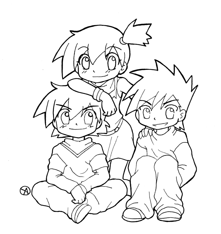 ash misty coloring pages - photo#14