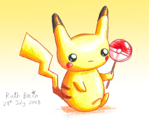 baby pikachu with lollipop by princess peachie