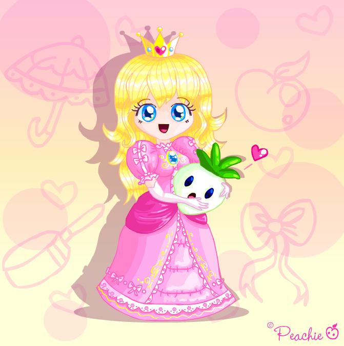 Princess Peach w. Veggie by Princess-Peachie