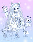 Frilly Girl with Angel Cats