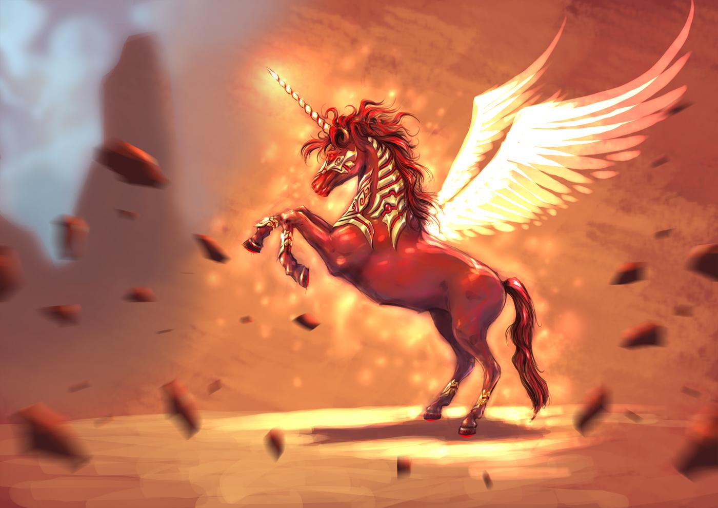 Fire horse wallpaper download - Red Unicorn By Mf Ajif On Deviantart
