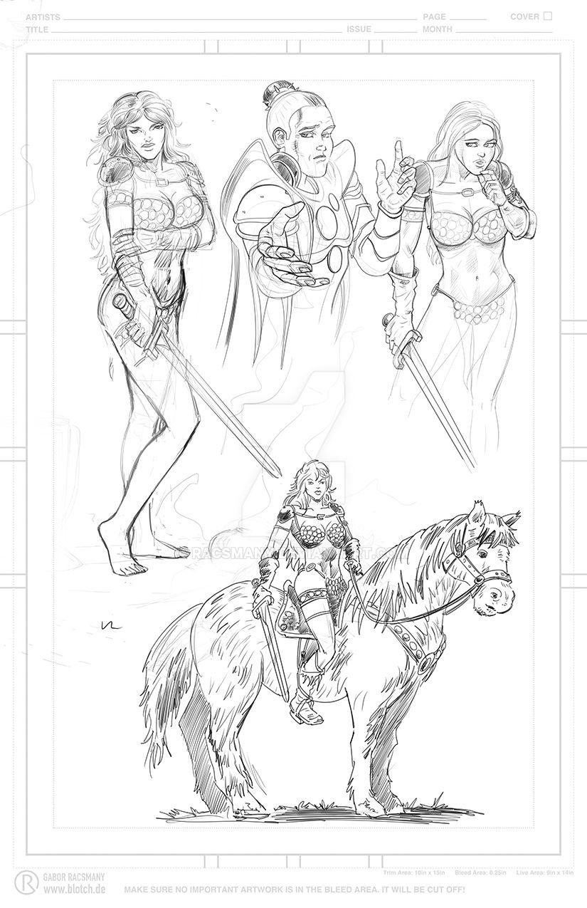 Red Sonja Charakter studies by racsmany