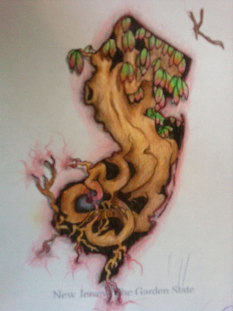 NJ tattoo design - chest tattoo