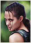 Lara Croft AJ portrait colour by redfill