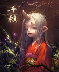 chiho bakemono girl by Evaty