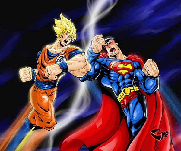 Superman vs Goku by LoboGio