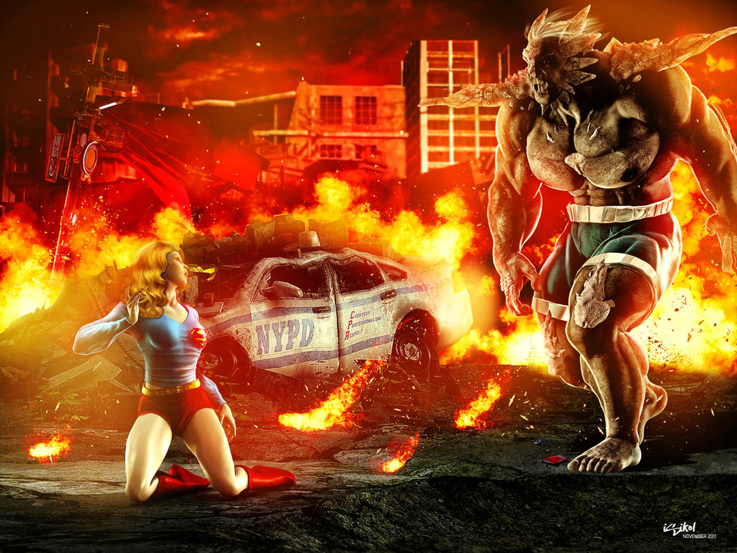 SUPERGIRL VS DOOMSDAY by isikol