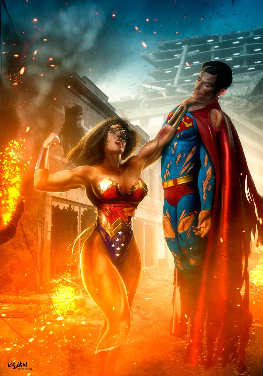WONDERWOMAN BEATS SUPERMAN by isikol