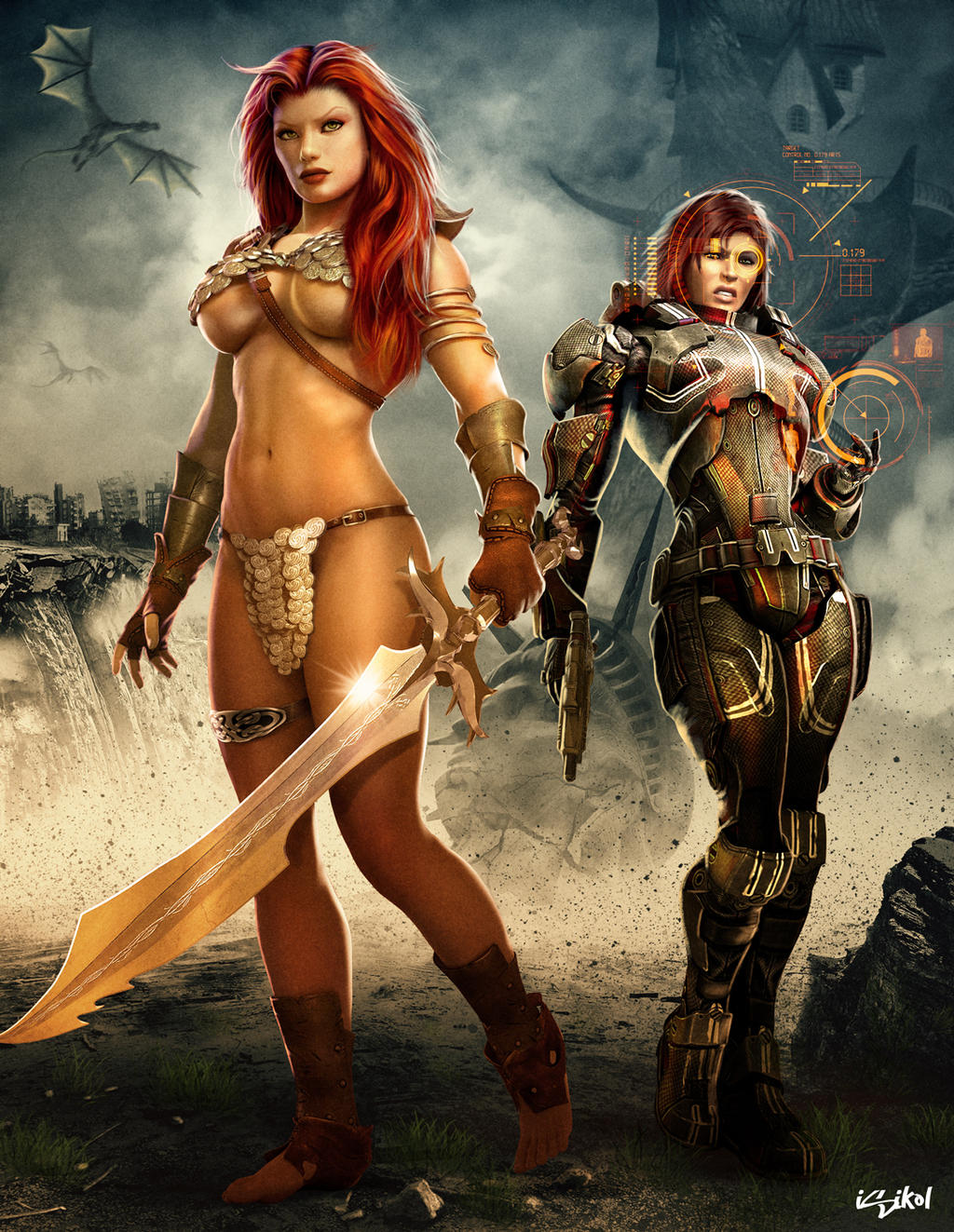 RED SONJA MEETS SHEPARD! by isikol