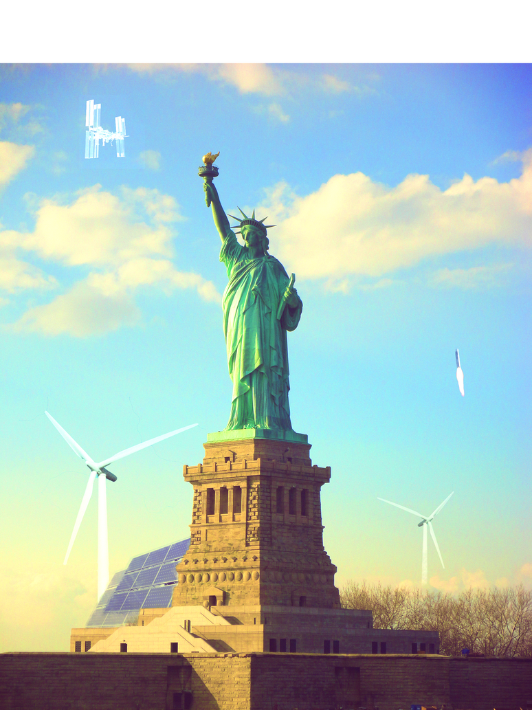 Statue of Liberty with Wind, Solar, and Space Tech by asht0n112358
