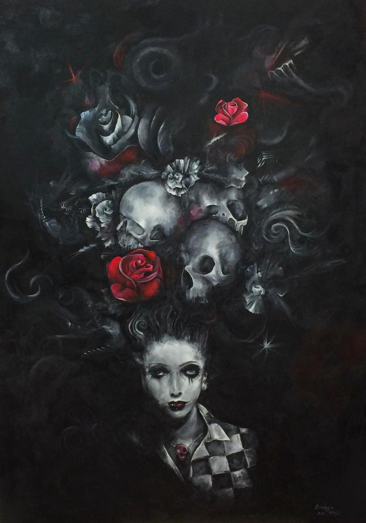 Black Widow Skulls Paintings With Roses