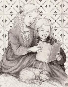 Tommen and Myrcella reading