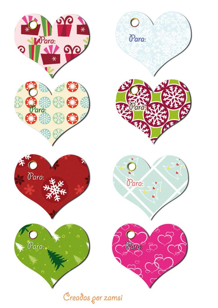 Etiquetas para regalos en forma de corazon by zamsi on - Etiquetas para regalos para imprimir ...