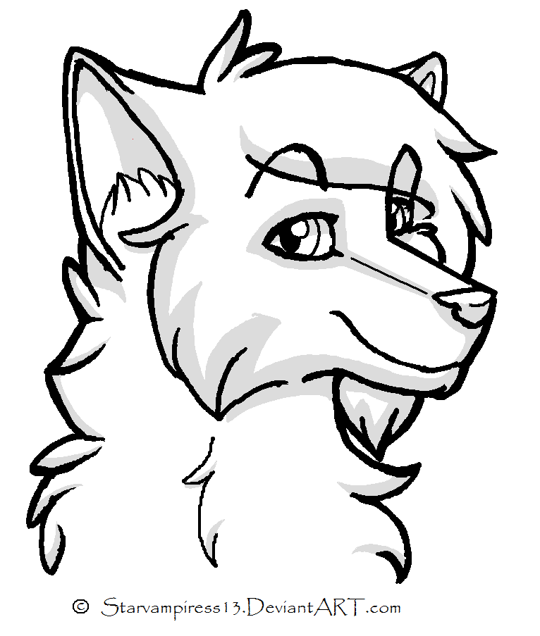 Line Drawing Wolf Face : Cartoon wolf by kyrawolfpup on deviantart