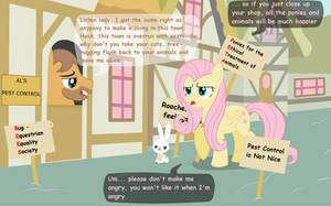 Fluttershy Protests 1 by Birdco